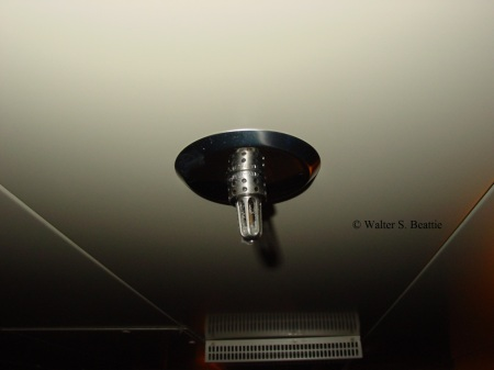 Water mist sprinkler heade on a cruise ship