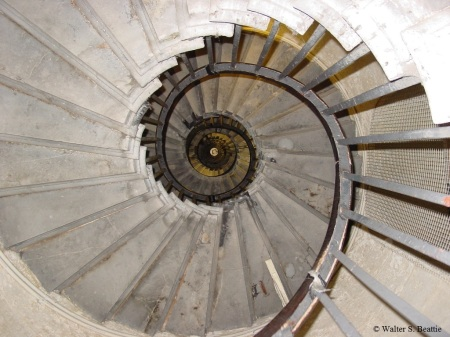 Stairs going up to the top of the Monument to the Great Fire of London